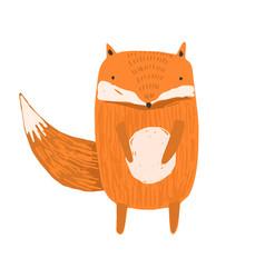 Cute childish hand drawn orange fox vector