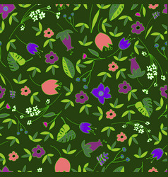 cute floral seamless pattern with hand drawn vector image