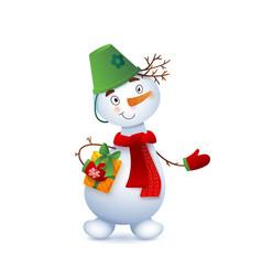 Cute snowman christmas with vector