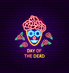 day dead neon label vector image
