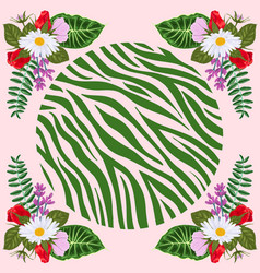 Design for a square shawl or headscarf zebra vector