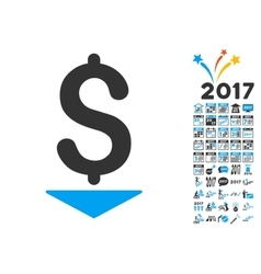 Dollar Down Icon With 2017 Year Bonus Pictograms vector image