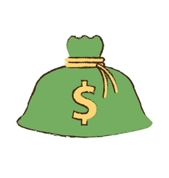 Drawing money bag business finance vector