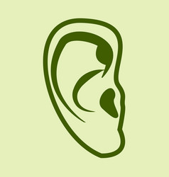 ear icon in flat style isolated on color vector image