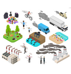 Ecology pollution sign 3d icon set isometric view vector