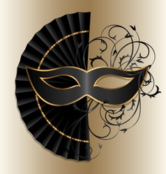 elegant mask with fan vector image