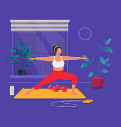 Female cartoon character doing fitness at home vector
