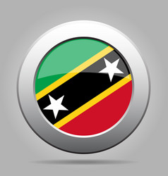 Flag of saint kitts and nevis metal round button vector
