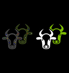 Flare mesh wire frame livestock icon with flare vector