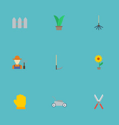 flat icons grower fence cutter and other vector image