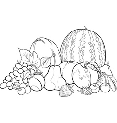 fruits group for Coloring Book vector image