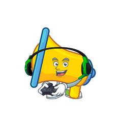 Gaming yellow loudspeaker cartoon character for vector