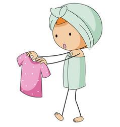 Girl in bathtowel holding pink shirt vector