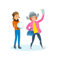 Girl with phone in his hand making selfie vector