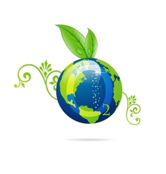 green eco sign of blue earth vector image