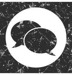 Grunge gray circle icon - speech bubbles vector
