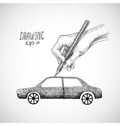 Hand drawing car vector image