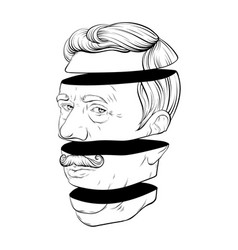 Hand drawn old man with moustache vector