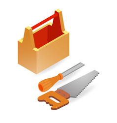 handsaw chisel box isometric construction tools vector image