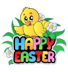 happy easter sign with chicken vector image