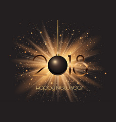 happy new year bauble on starburst background vector image
