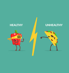 Healthy vs unhealthy food banner template strong vector