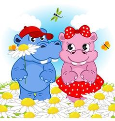 hippo boy gives flower girl vector image