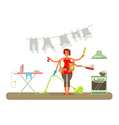 homemaker is cleaning vector image