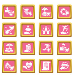insurance icons set pink square vector image
