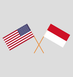 Ithe indonesian and united states america flags vector
