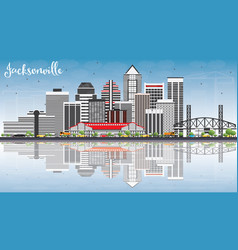 Jacksonville skyline with gray buildings blue sky vector