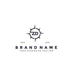 Letter zd compass logo design vector