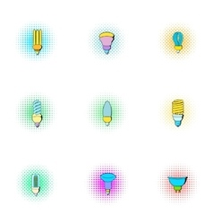 Light icons set pop-art style vector