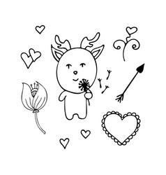 Lovely deer the romantic from dandelions vector