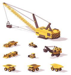 low poly mining machines vector image