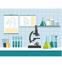 Microscope with test tubes vector