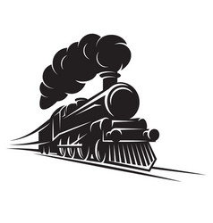 Monochrome pattern for design with retro train on vector