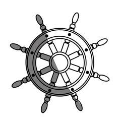 Monochrome silhouette of boat helm with half vector