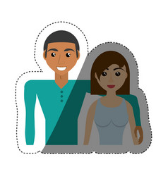 Multiracial couple beautiful shadow vector