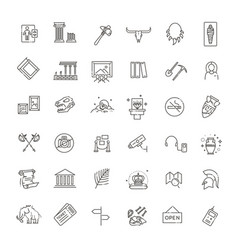 Museum icons set exhibits collection vector