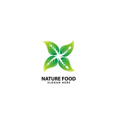 Nature food logo with fork and spoon vector