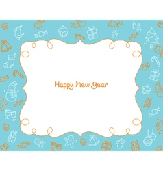 New Year Decoration Outline Icons Border Blue Bac vector image