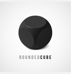 one isometric black cube with rounded edges and vector image