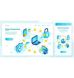 online web set data protection regulation vector image