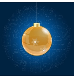 Orange christmas ball on blue background with vector image