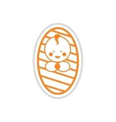 Paper sticker newborn boy on white background vector