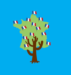 patriotic tree france map french flag national vector image