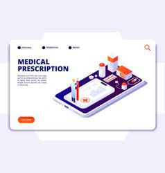 pharmacy isometric landing page pharmacist vector image