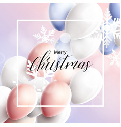 pink blue and white balloons with snowflakes vector image