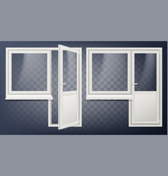plastic door home interior door and window vector image